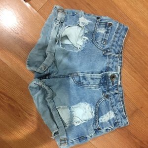 Light wash jean shorts